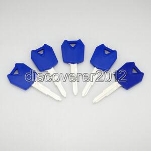5 pcs Blue Blank Key Uncut for Kawasaki Ninja ZX6R ZX10R ZX12R Z1000 Motorcycle