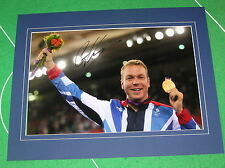 Sir Chris Hoy Signed & Mounted London 2012 Olympic Velodrome Medal Photograph