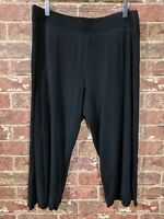 Eileen Fisher sz L Black Pants Palazzo Wide Leg Lagenlook Flowy Culottes Capri