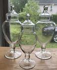 Vintage set of three Glass Apothecary Drug/ Candy Store Jar - Pedestal Base
