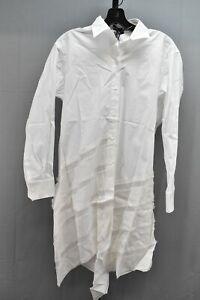 Jil Sander Navy Long Sleeve Shirt Dress, Women's Size 34 (US 2), White NEW