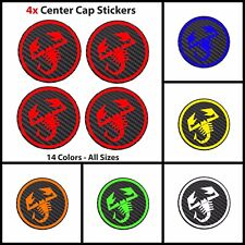 4 ABARTH Carbon Fiber Vinyl Wheel Rims Centre Cap Stickers Decals Fiat 500 Punto