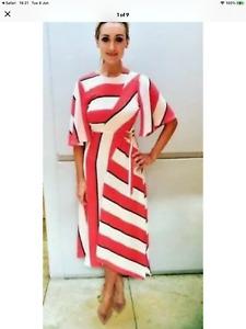 BNWT Topshop Red Diagonal Bold Stripe Asymmetric MidiDress Size UK 8 £49 Celeb