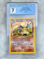 Charizard Holo Pokemon Card English Unlimited Base Set 4/102 BGS PSA CGC 7 NM