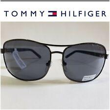 NWT Tommy Hilfiger VASQUEZ MM OM68 Men's Gunmetal Frame Black Aviator Sunglasses