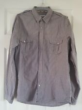 Mens New Look striped long sleeved cotton shirt in size Medium
