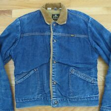 VINTAGE ORIGINAL DENIM FUR JACKET 1970's MAVERICK BLUE BELL WESTERN SIZE 38