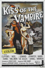 Kiss of the vampire cult horror movie poster print