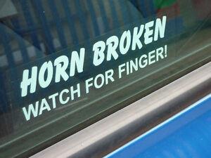 Horn broken watch for finger funny car window sticker
