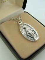 """Womens Fine Brushed Silver 1"""" Oval Virgin Mary Madonna Miraculous Medal w Box"""