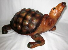 "LEATHER TURTLE TORTOISE GLASS EYES 19 1/2"" LONG LIFE SIZE"