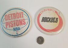 Lot of 2 Vintage Detroit Pistons Rockets NBA Basketball Pin Back Buttons Large
