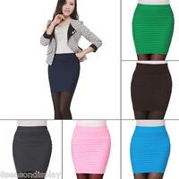 Women's Summer Ladies Pleated Stretch Short Bodycon Pencil Mini Skirts