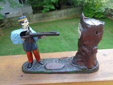 Antique 19thC J & E Stevens Cast Iron CREEDMOOR 1877 Soldier Mechanical Bank, NR