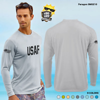 +50 UPF Long Sleeve DISTRESS USAF USA AIR FORCE Performance FISHING BOAT front a