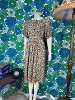 AV80 Vintage 1990's Monsoon Tea Dress Ditsy Floral Cotton Size 12 14