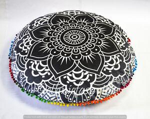 "Indian Mandala Floor Pillows 32"" Round Meditation Cushion Cover Ottoman Pouf New"