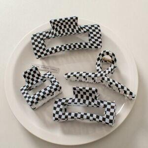 Black White Checkered Grid Plaid Clamps Acetate Hair Crabs Hair Claw Clips