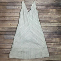 Piazza Sempione Dress 42 Black White Striped Sleeveless V Neck A Line Italy US 6