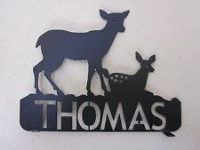2 SIDE DOE AND FAWN (NAME) MAILBOX TOPPER TEXTURED BLACK POWDER COAT FINISH