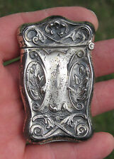 Antique Sterling Silver MATCH SAFE VESTA CASE Match strike on bottom RARE!
