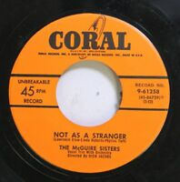 50'S & 60'S 45 The Mcguire Sisters - Not As A Stranger / Muskrat Ramble On Coral