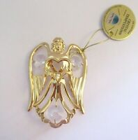 Ornament- ANGEL holding a heart- Austrian Crystals- 24K gold plated- clear