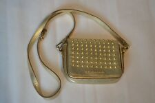 Burberry Gold Studded Metallic Leather Crossbody Magnetic Satchel Small Womens