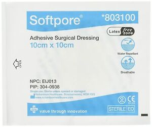 Softpore Adhesive Surgical Dressing Water Repellent Sterile Single Use 10x10 cm
