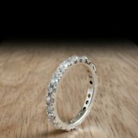 1CT Round Cut Pearl & Diamond 14k White Gold Over Eternity Anniversary Band Ring
