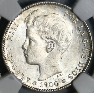 1900 NGC MS 63 Spain 1 Una Peseta Silver Alfonso XIII Coin (21012704C)