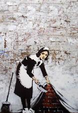 "BANKSY STREET ART *FRAMED* CANVAS PRINT Maid sweeping 16""X 12"" portrait"