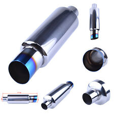 """Exhaust Muffler Silencer 2"""" inlet 3"""" Outlet Exhaust Burnt Tips Grilled Blue"""