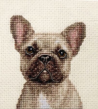 FAWN FRENCH BULLDOG dog, puppy ~ Full counted cross stitch kit + all materials