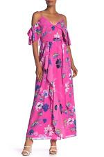 NEW RACHEL RACHEL ROY WOMEN'S FLORAL RUFFLE MAXI HOT PINK DRESS SIZE 4