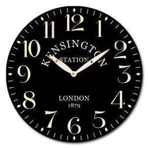 28.8cm Wall Clock Kensington Station Round Black Gift Cafe Home Modern