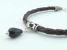 ♥ Dream-Pearls Design Armband Leder Granat geflochten braun rot silber ♥ AB019
