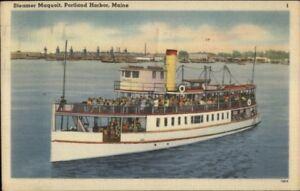 Casco Bay Portland ME Steamer Ferry Boat Maquoit Linen Postcard