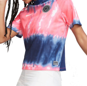 Nike Womens FC Soccer Jersey T Shirt Authentic Loose Fit Tee Blue Pink Tie Dye
