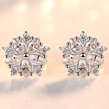 Womens Trendy Earrings Sterling Silver Plated Stud Studs Round Crystal Jewellery