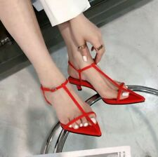 Women Mid Heel Pointed Toe Ankle Strap Sandals Kitten T-Strap Buckle OL Shoes L