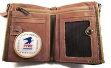 USPS US POSTAL SERVICE VINTAGE FINISH BROWN GENUINE COWHIDE BIFOLD WALLET