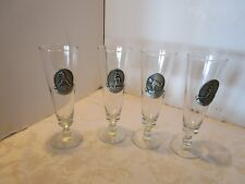 Baseball Theme Pilsner Beer Glasses set 4 w/Pewter by FORT Medallions NOS in box