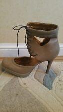 Topshop Shoes Size 7 40 grey beige leather lace up square toe platform sole