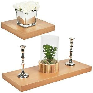 Wooden Beech MDF Floating Shelves Wall Hanging Storage Display Deco Shelving NEW