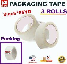 Rhino Heavy Duty Shipping Packaging Tape 2 X 55clear Carton Sealing Tape 3rolls