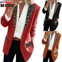 Women's Leopard Slim Blazer Work OL Jacket Ladies Long Sleeve Outwear Suit Coat
