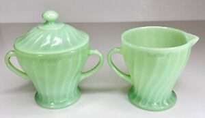 Fire King Jadeite Swirl Pattern Creamer & Sugar Bowl Dish with Lid ~ Jadite