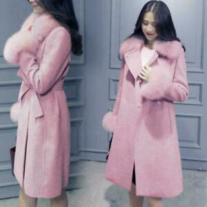 Women's Parka Fur Collar Wool Blend Long Coat Jacket Winter Belt Slim Outwear
