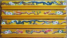 4 New Maple Mahjong Racks, Painted in a Dragon, Fish & Flower Motif, Mah Jongg